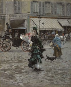 CLK339927 Crossing the Street, 1875 (oil on panel) by Boldini, Giovanni (1842-1931); 45.7x37.5 cm; Sterling and Francine Clark Art Institute, Williamstown, Massachusetts, USA; Italian, out of copyright